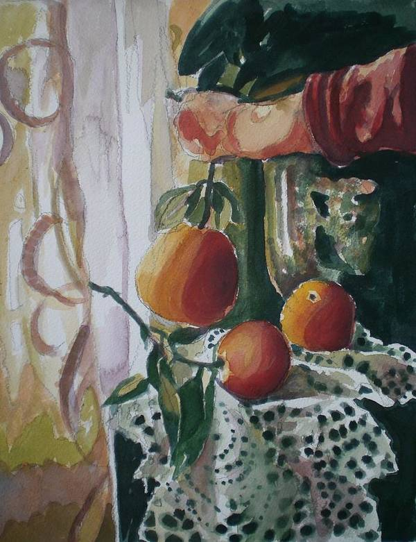 Still Life Art Print featuring the painting Holding  An Orange by Aleksandra Buha