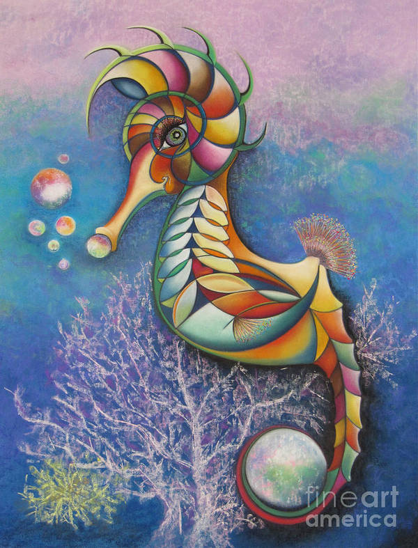 Rainbow Seahorse Holding The World Art Print featuring the pastel Horse Of A Different Color by Tracey Levine