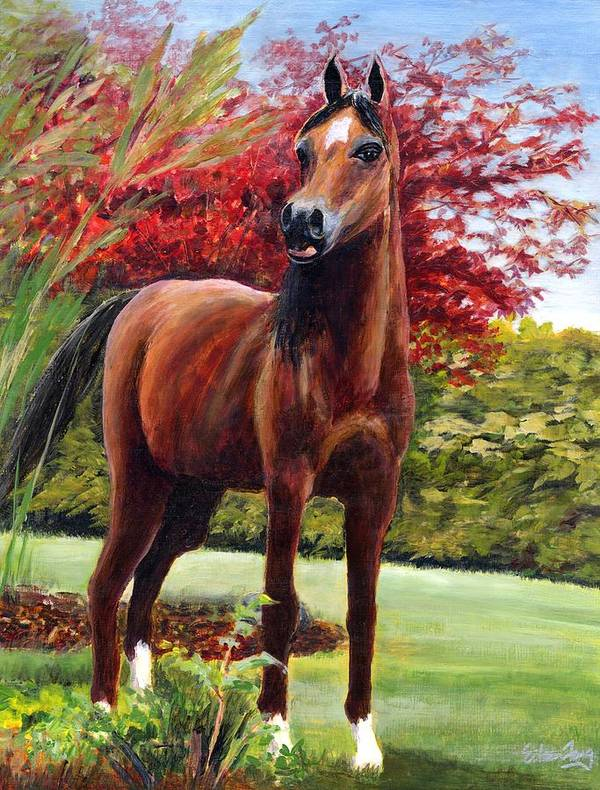 Horse Art Print featuring the painting Horse Portrait by Eileen Fong
