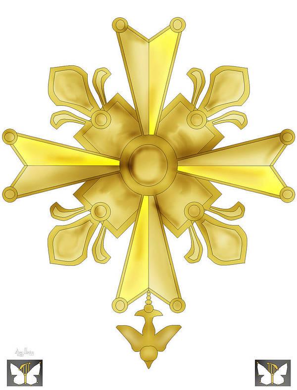 Christian Cross Art Print featuring the painting Huguenot Golden Cross by Anne Norskog