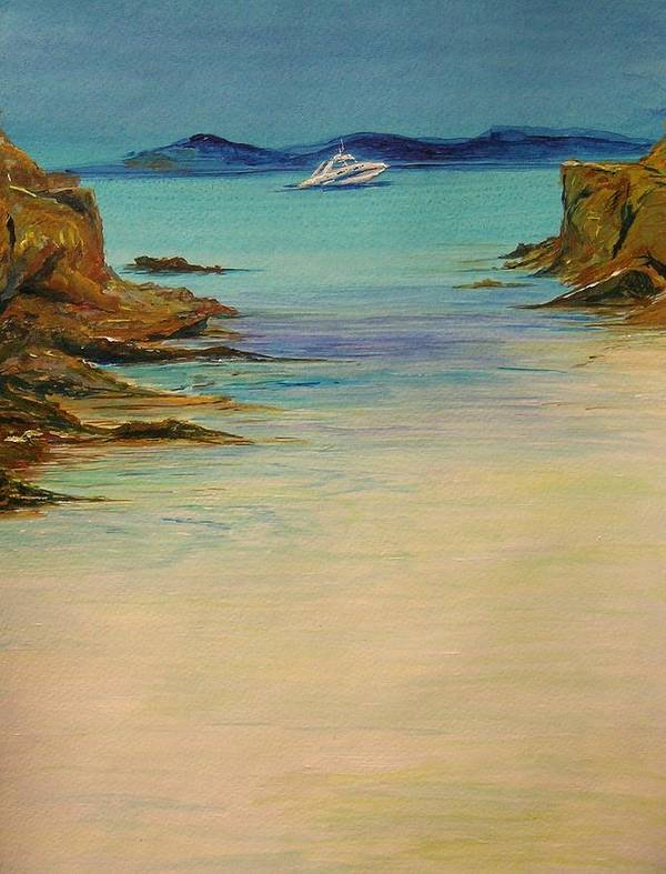 Seascape Original Painting Art Print featuring the painting Ibiza In The Distance.... by Lizzy Forrester