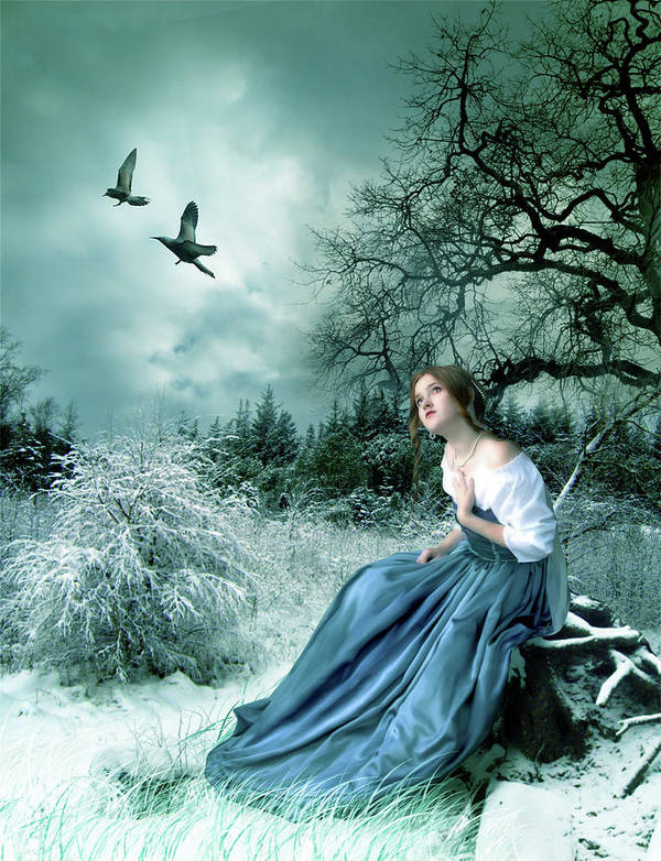 Fantasy Art Print featuring the digital art If Only I Had Wings by Julie L Hoddinott