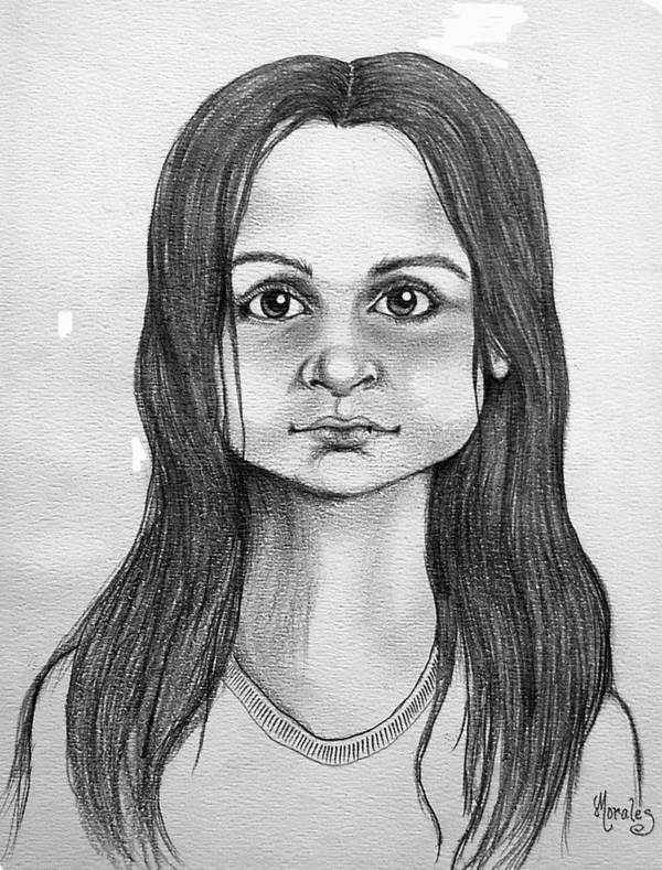 Portrait Art Print featuring the drawing Immigrant Girl by Marco Morales