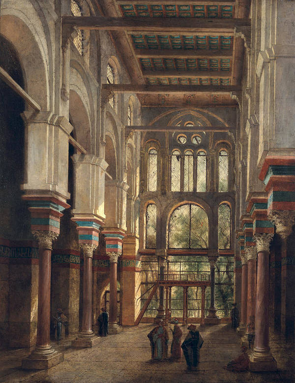 Interior Art Print featuring the painting Interior Of The Mosque Of El Mooristan In Cairo by Adrien Dauzats