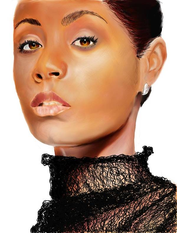 Art Print featuring the digital art Jada Pinkett - Smith - 01 by Anthony Anthony ICONS