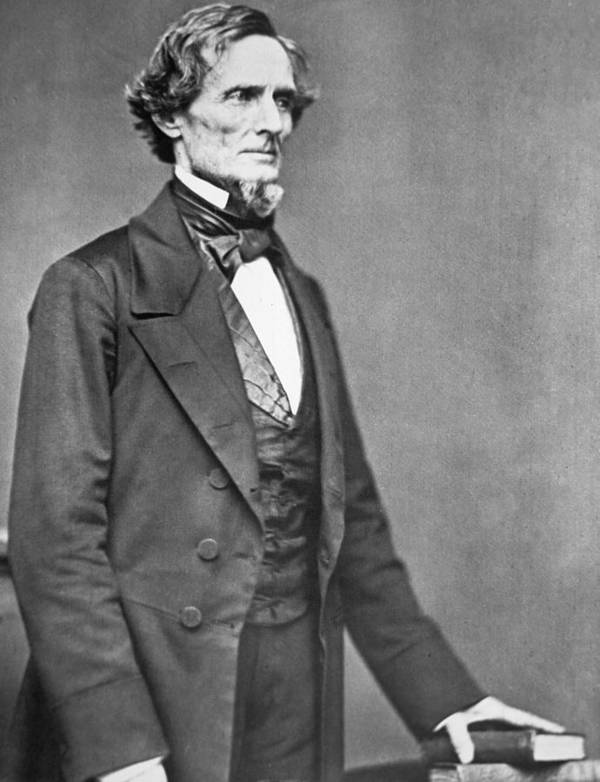 Jefferson Davis (1808-89) (b/w Photo) By American Photographer (19th Century) Print featuring the photograph Jefferson Davis by American Photographer