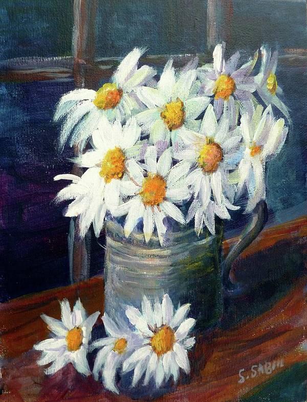 Daisies Art Print featuring the painting Jug Of Daisies by Saga Sabin