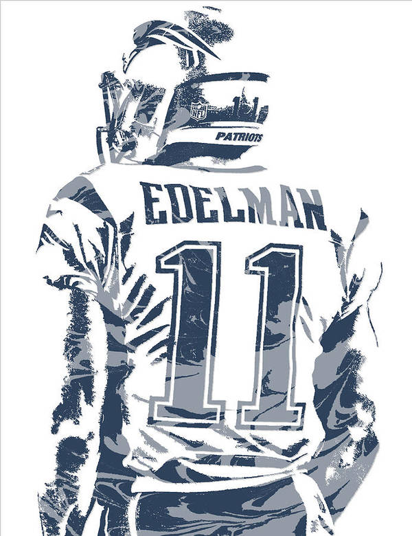 Julian Edelman New England Patriots Pixel Art 10 Art Print