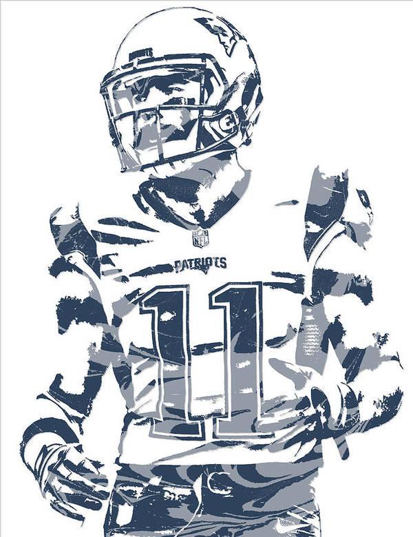 Julian Edelman Art Print Featuring The Mixed Media New England Patriots Pixel 20