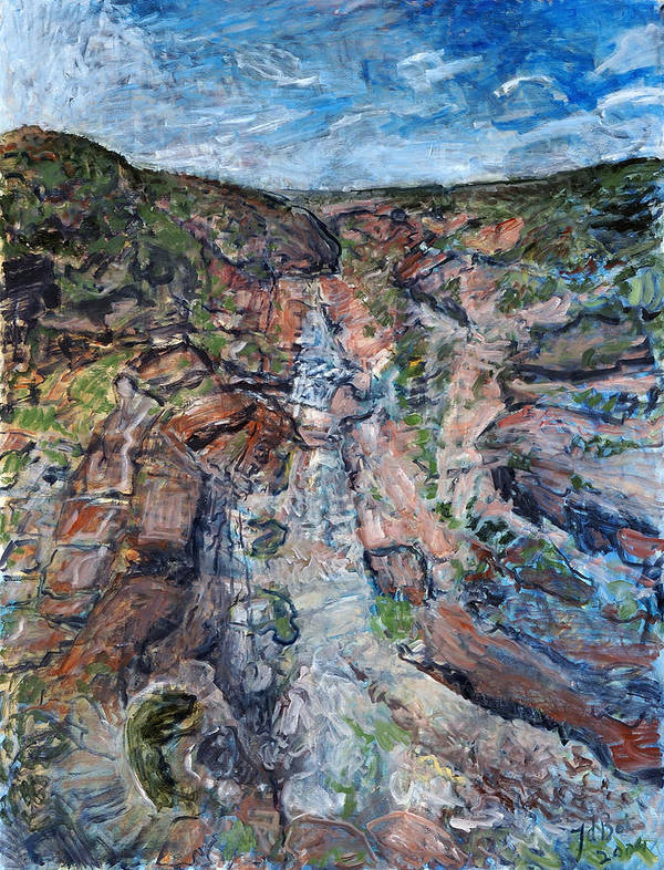 Gorge Art Print featuring the painting Kalbarri Gorge by Joan De Bot