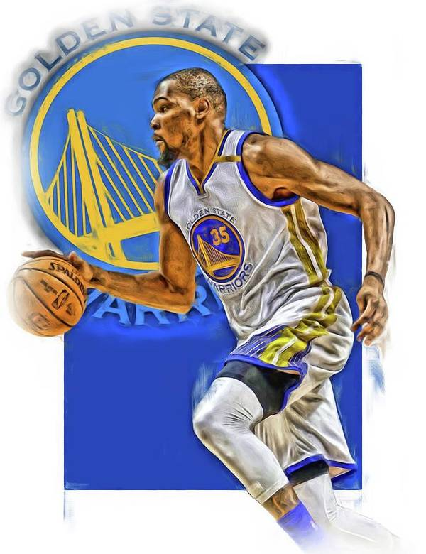 Kevin Durant Art Print Featuring The Mixed Media Golden State Warriors Oil By