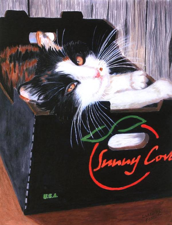 Kitty Art Print featuring the painting Kitty In A Box by Lorraine Foster
