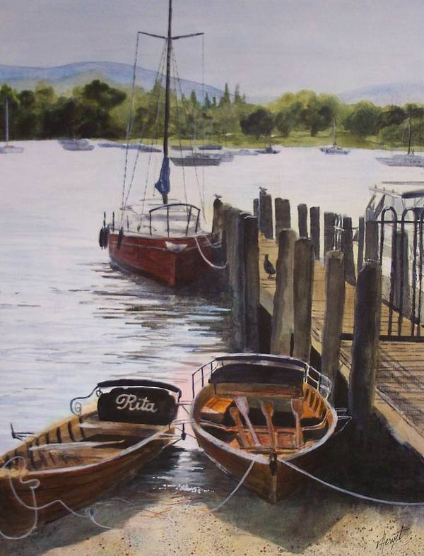 Boats Art Print featuring the painting Lake Windermere by Victoria Heryet