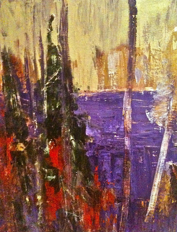 Landscape Art Print featuring the painting Landscape Abstract In Purple by Mary-Lynn Bastian