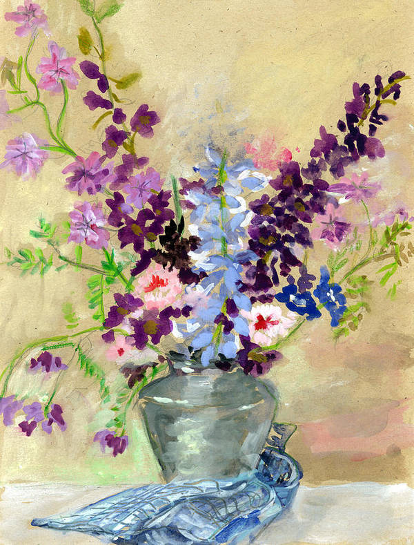 Bouquet Art Print featuring the painting Larkspur by Ethel Vrana