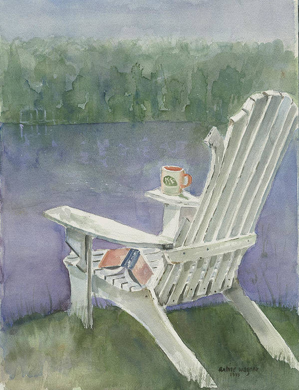 Chair Art Print featuring the painting Lawn Chair By The Lake by Arline Wagner