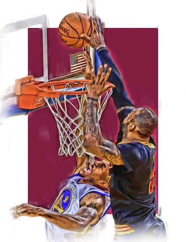 Lebron James Art Print featuring the mixed media Lebron James Cleveland Cavaliers Oil Art by Joe Hamilton