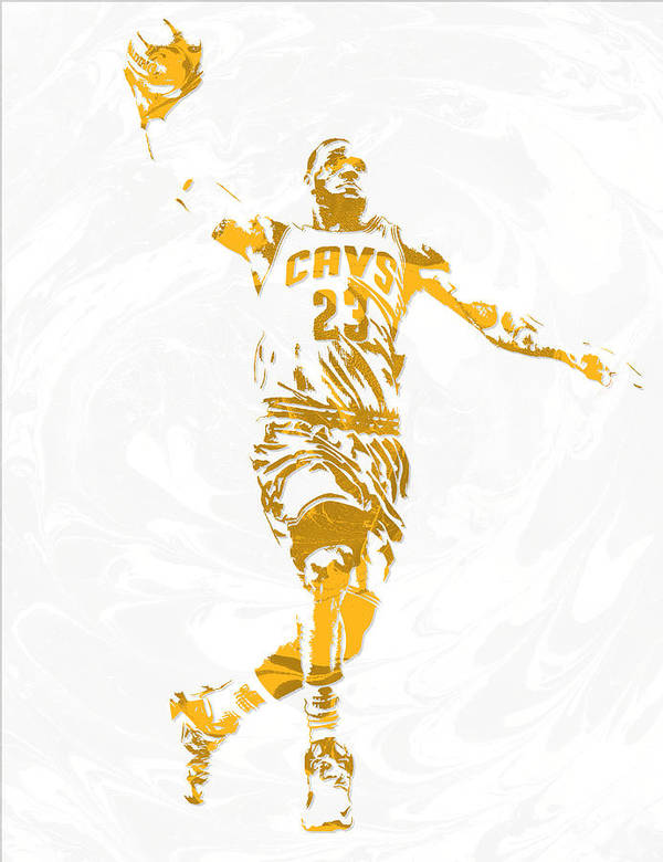 Lebron James Art Print featuring the mixed media Lebron James Cleveland Cavaliers Pixel Art 12 by Joe Hamilton