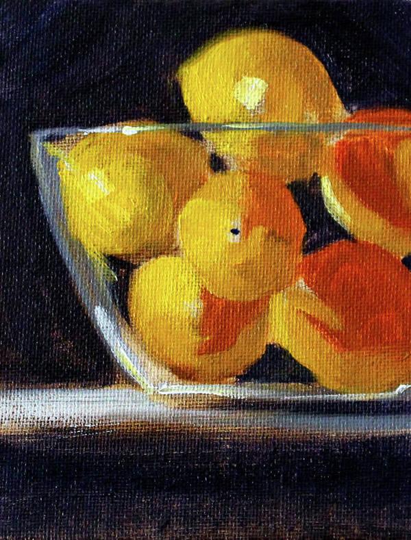 Citrus Fruit Painting Art Print featuring the painting Lemon Bowl by Nancy Merkle