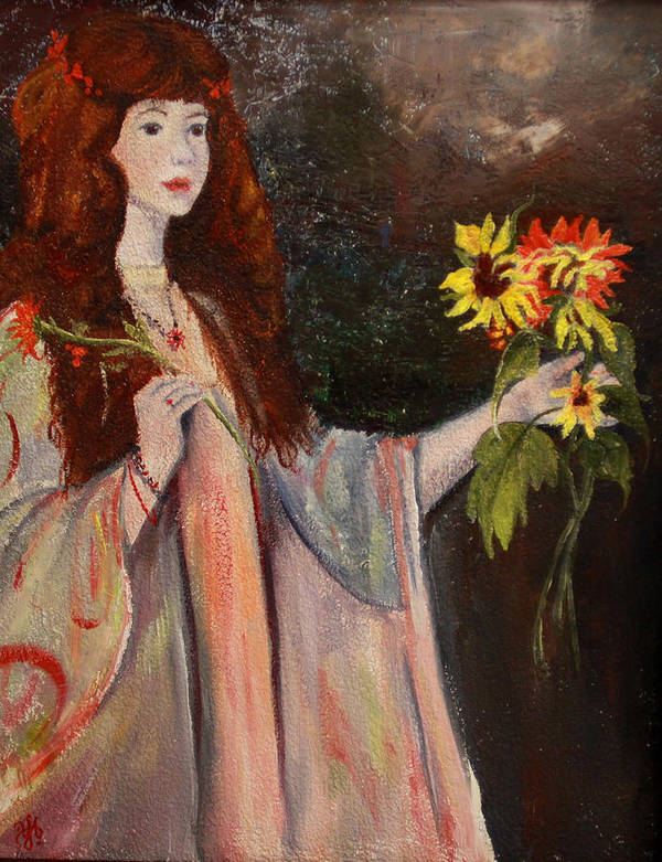 Beautiful Girl Art Print featuring the painting Life Is Fragile Handle With Flowers by Nila Jane Autry