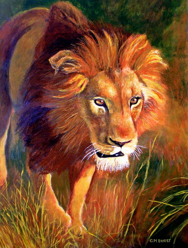 Lion Art Print featuring the painting Lion At Sunset by Michael Durst