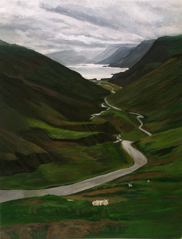 Landscape Art Print featuring the painting Loch Assynt by Jesslyn Fraser