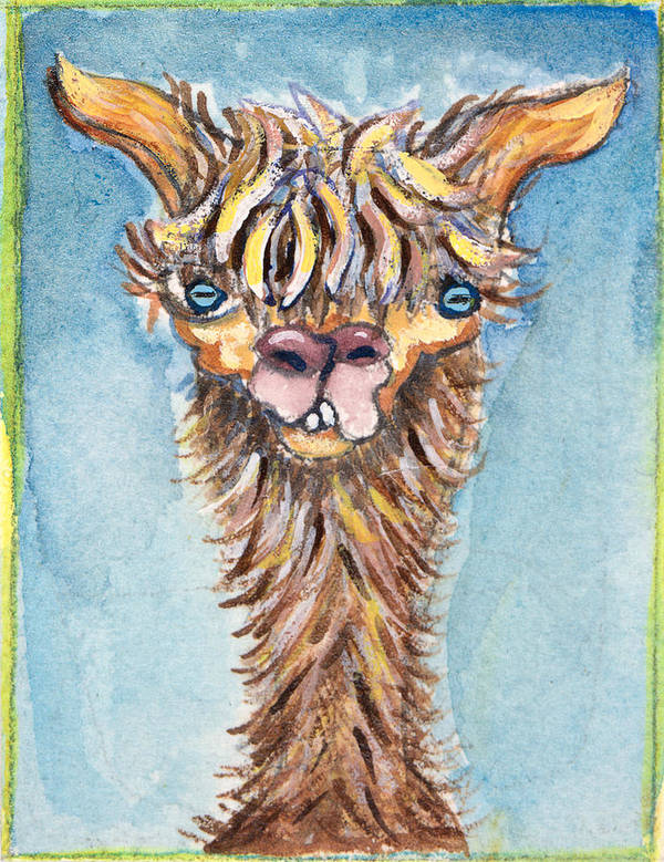 Animals Art Print featuring the painting Long Neck Alpaca by Michelle Spiziri