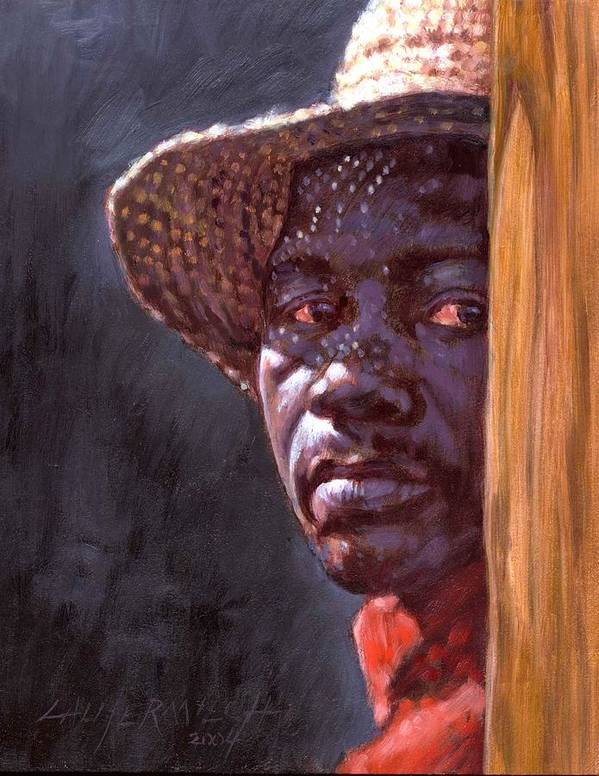 Black Man Art Print featuring the painting Man In Straw Hat by John Lautermilch