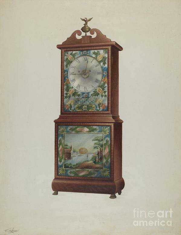 Art Print featuring the drawing Mantel Clock by Frank Wenger