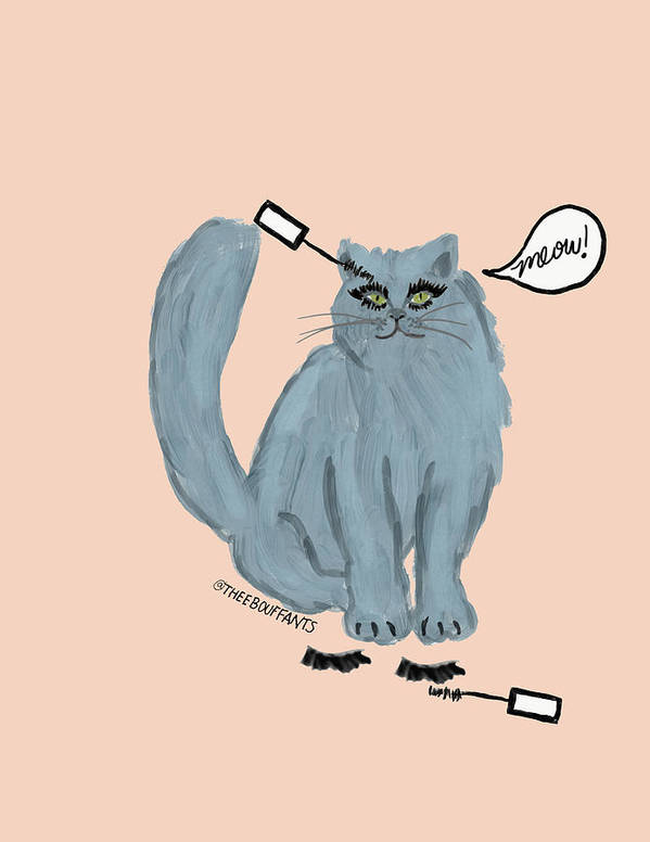 Art Print featuring the drawing Mascara Cat by Bouffants and Broken Hearts