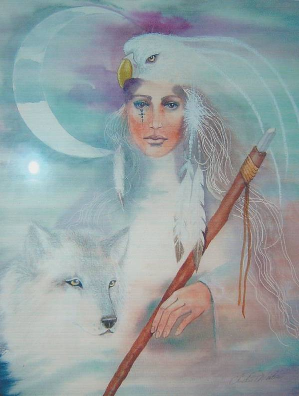 Medicine Woman Art Print featuring the painting Medicine Woman by Christine Winters