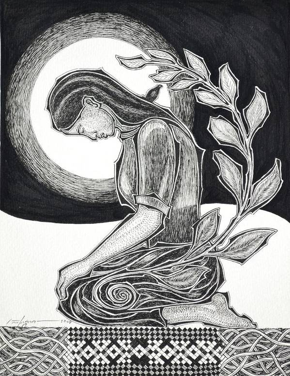 Meditation Art Print featuring the drawing Meditation by Raul Agner