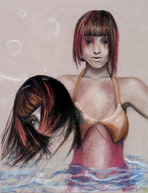 Mermaid Art Print featuring the drawing Mermaid Emerging by Maryn Crawford