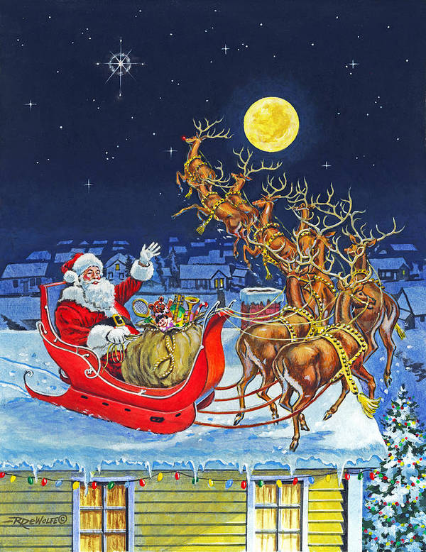 Christmas Eve Art Print featuring the painting Merry Christmas To All by Richard De Wolfe
