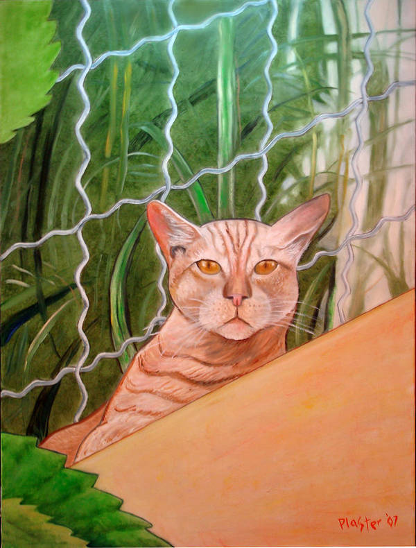 Cat Art Print featuring the painting Miami Lewie by Scott Plaster