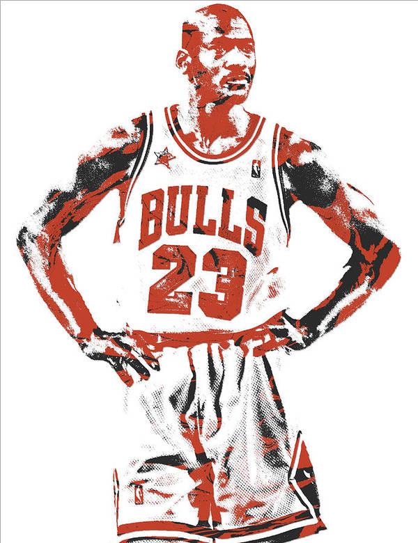 Michael Jordan Art Print featuring the mixed media Michael Jordan Chicago Bulls Pixel Art 13 by Joe Hamilton