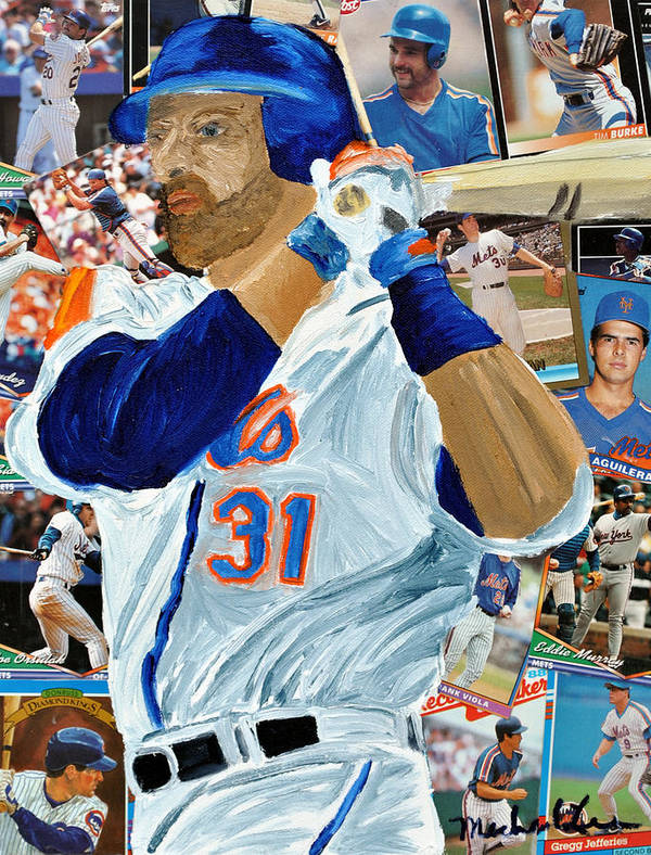 Mets Art Print featuring the painting Mike Piazza by Michael Lee