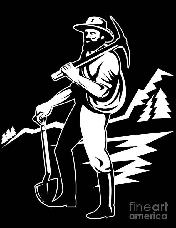Illustration Print featuring the digital art Miner With Pick Axe And Shovel by Aloysius Patrimonio