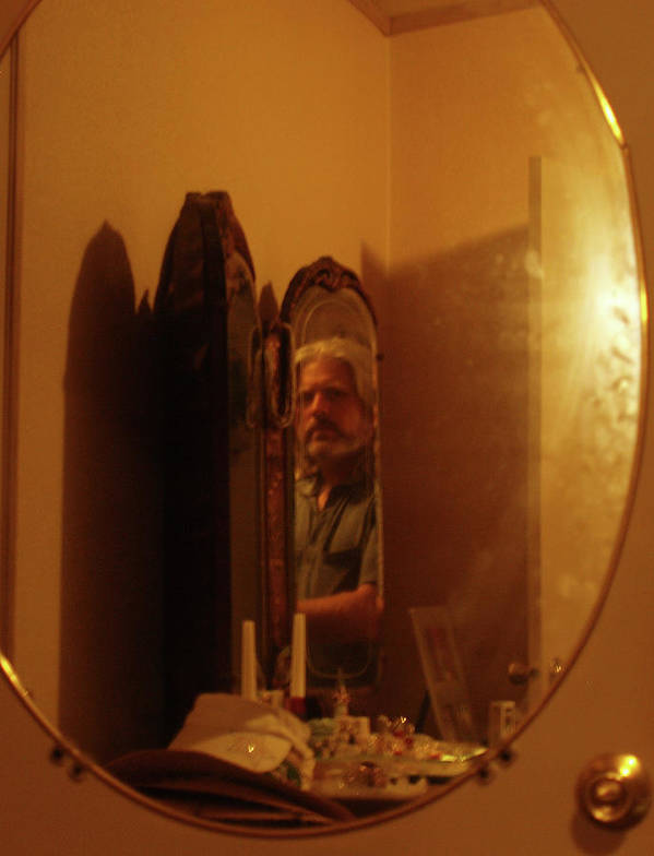 Self Portrait Photo In The Mirror Art Print featuring the photograph Mirror Mirror by James Granberry