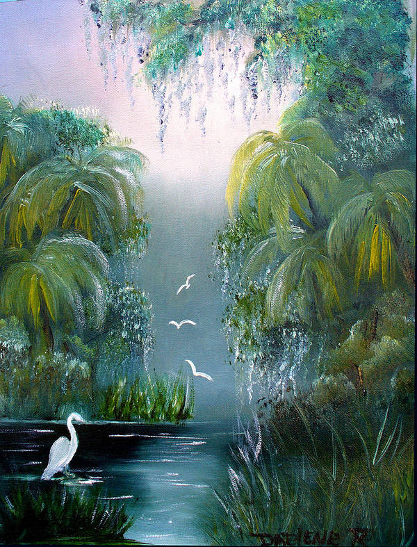 Morning Art Print featuring the painting Misty Morning Swamp by Darlene Green