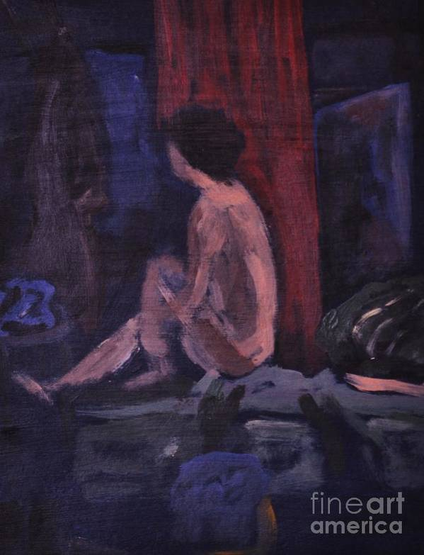 Model Art Print featuring the painting Model In Blue And Red by Reb Frost