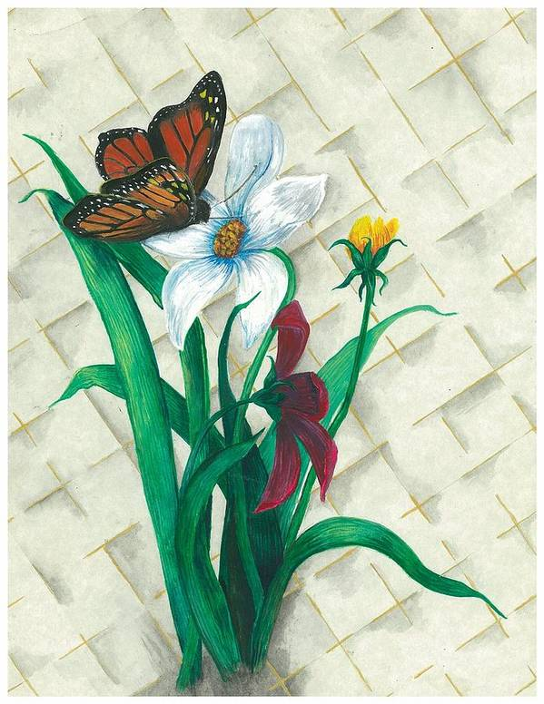 Flowers Art Print featuring the painting Monarch And Flowers by Sally Balfany