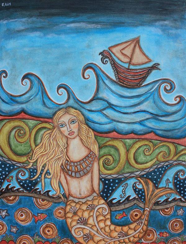 Folk Art Apainting Art Print featuring the painting Monique Mermaid by Rain Ririn