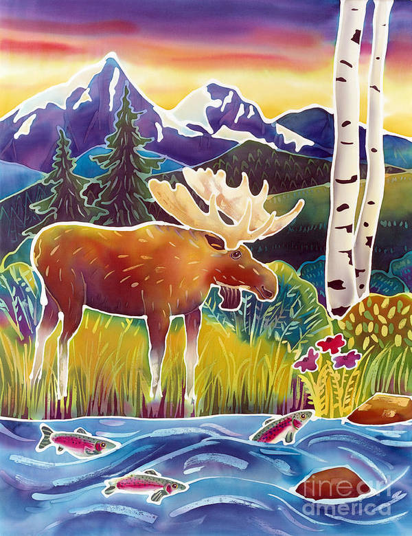 Moose Print featuring the painting Moose On Trout Creek by Harriet Peck Taylor