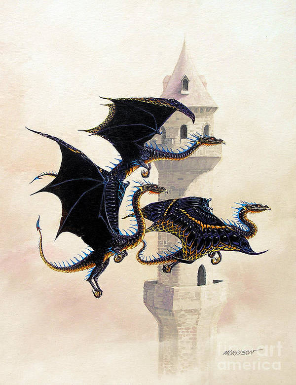 Dragon Art Print featuring the painting Morning Flight by Stanley Morrison