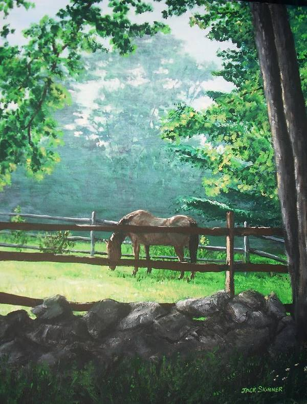 Horse Art Print featuring the painting Morning Pasture by Jack Skinner