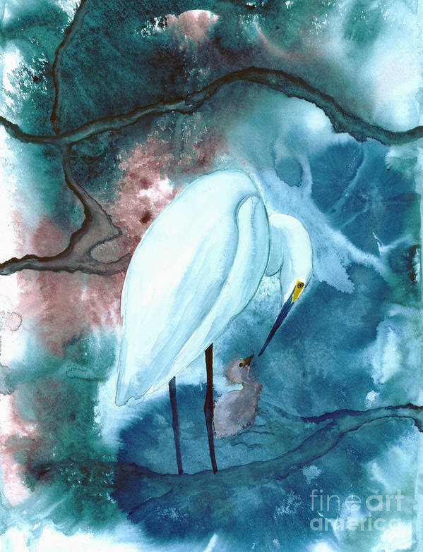 A Mother Egret With Her Chick- A Watercolor Painting Art Print featuring the painting Mother And Child by Mui-Joo Wee