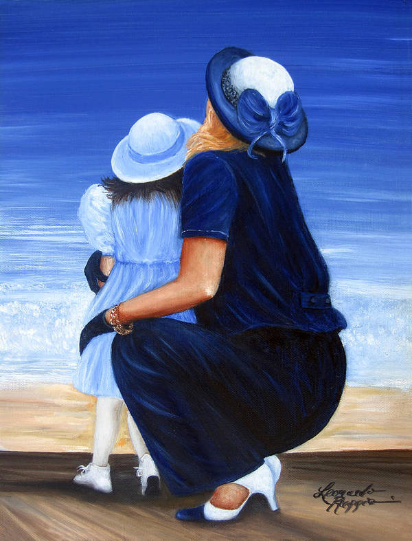 Mother And Daughter Art Print featuring the painting Mother And Daughter by Leonardo Ruggieri