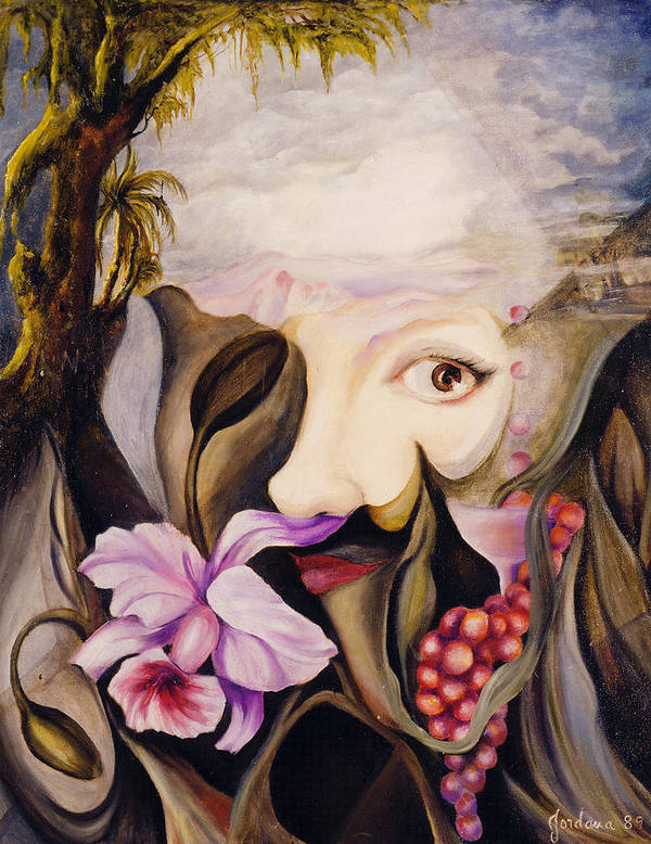 Surreal Landscape Artwork Art Print featuring the painting Mother Earth by Jordana Sands