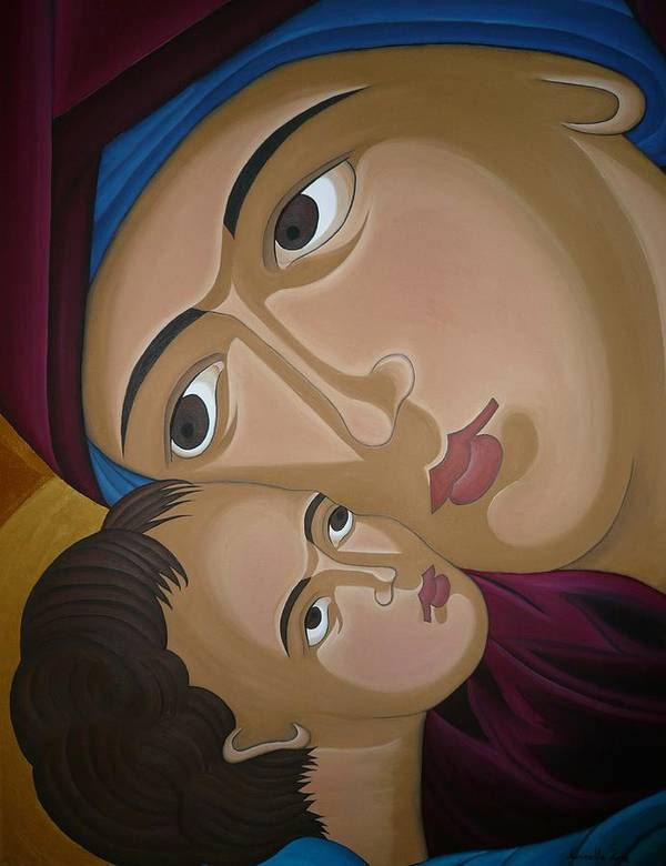 Marinella Owens Artist Oil Paintings Greek Icons Art Print featuring the painting Mother-love by Marinella Owens
